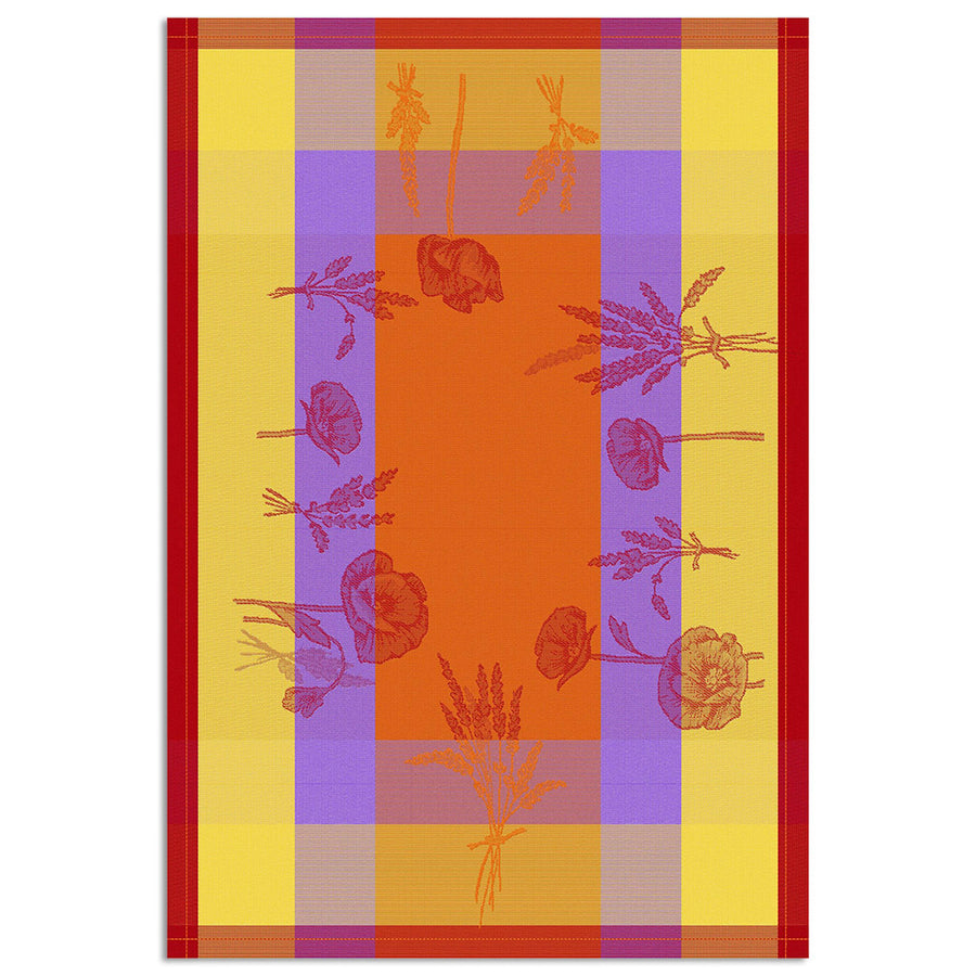 Poppies Orange Cotton French Jacquard Dish Towel