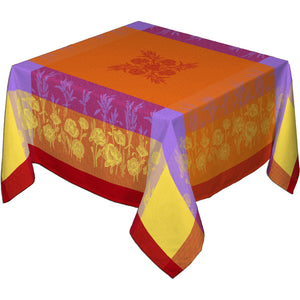"62"" Square Coquelicot Orange French Jacquard Tablecloth with Teflon"