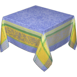 "62x78"" Rectangular Cotignac Blue French Jacquard Tablecloth with Teflon"