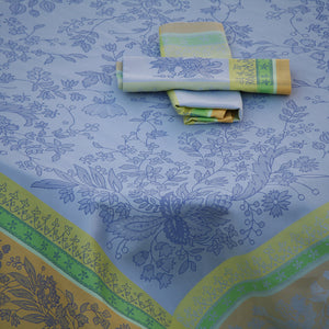 "62"" Square Cotignac Blue French Jacquard Tablecloth with Teflon"