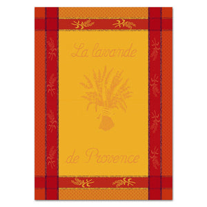 Lavandier Terracota Cotton French Jacquard Dish Towel by Les Tissages du Soleil