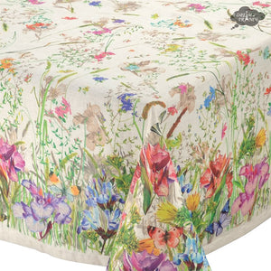 "70x102"" Rectangular Mariola French Linen Blend Tablecloth by Les Tissages du Soleil"