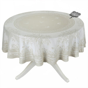 "90"" Round Marseille French Damask Tablecloth with Teflon"