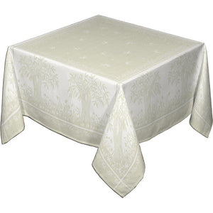 "62x138"" Rectangular Marseille French Damask Tablecloth with Teflon by Les Tissages du Soleil"