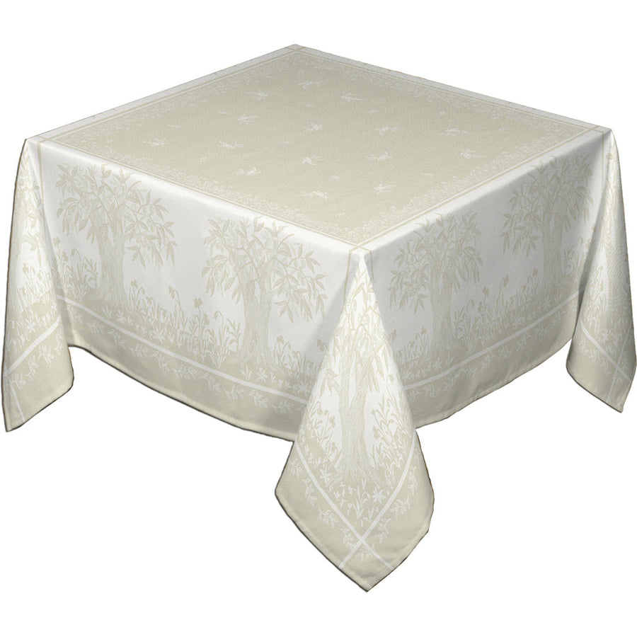 "62x120"" Rectangular Marseille French Damask Tablecloth with Teflon by Les Tissages du Soleil"