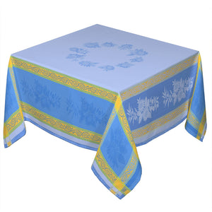 "62x138"" Rectangular Sunflower Blue French Jacquard Tablecloth with Teflon by Les Tissages du Soleil"