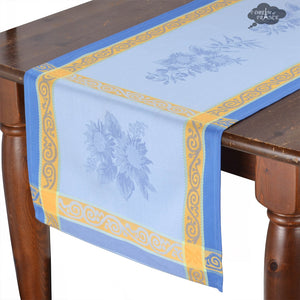 "20x64"" Sunflower Blue French Jacquard Table Runner with Teflon"