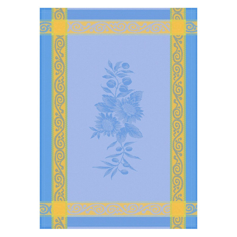 Sunflower Blue Cotton French Jacquard Dish Towel