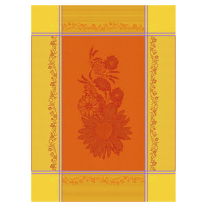 Sunflower Orange Cotton French Jacquard Dish Towel