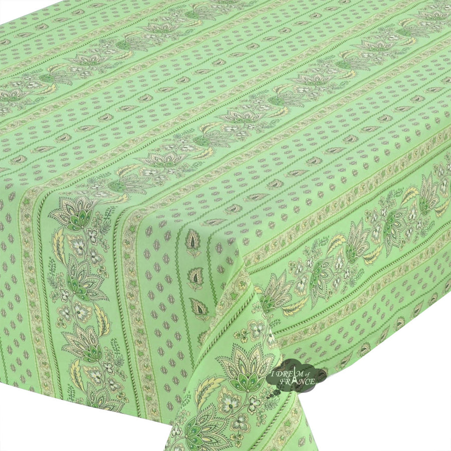 "60x84"" Rectangular Lisa Pistachio Cotton Coated Provence Tablecloth by Le Cluny"
