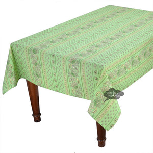 "52x72"" Rectangular Lisa Pistachio Cotton Coated Provence Tablecloth by Le Cluny"