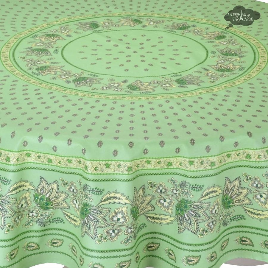 "70"" Round Lisa Pistachio Cotton Coated French Country Tablecloth by Le Cluny"