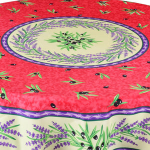 "Matisse Red French Provencal Stain Resistant Tablecloth - 63"" Round Close Up"