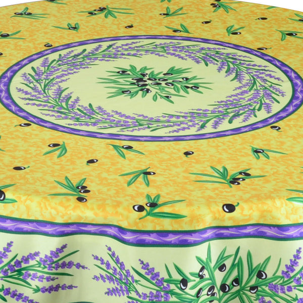 Matisse Yellow French Provencal Stain Resistant Tablecloth - Round