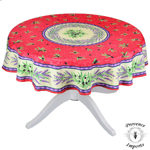 Matisse Red French Provencal Stain Resistant Tablecloth - Round