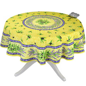 "Matisse Yellow French Provencal Stain Resistant Tablecloth - 70"" Round"