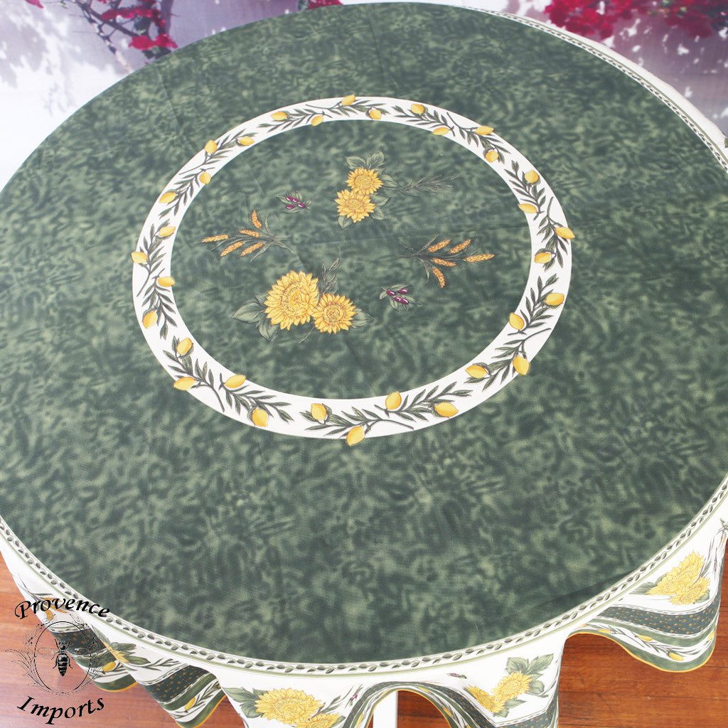 Menton Green French Provencal Stain Resistant Tablecloth Round