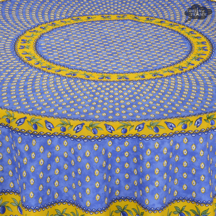 "70"" Round Monaco Blue Cotton Coated Provence Tablecloth by Le Cluny"