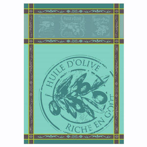 Provence Olive Oil Turquoise French Jacquard Kitchen Towel by Montolivet