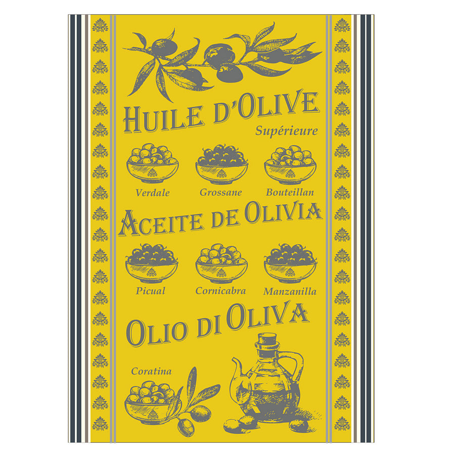Olive Oil Yellow Jacquard Kitchen Towel by Montolivet