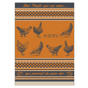 Pecking Chicken French Jacquard Orange Kitchen Towel by Montolivet