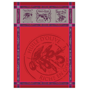 Provence Picholine Red French Jacquard Kitchen Towel by Montolivet