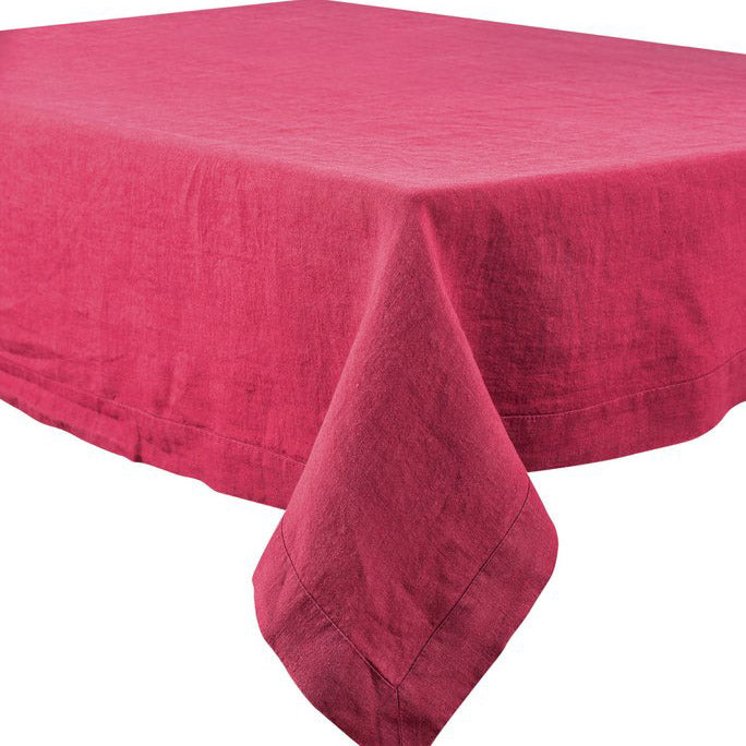 "66"" Square Nais Magenta Stone Washed Linen Tablecloth by Harmony"