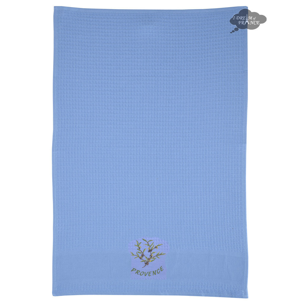 ... Olives Blue Waffle Weave Kitchen Towel By Tissus Toselli