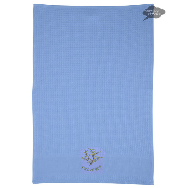 Olives Blue Waffle Weave Kitchen Towel by Tissus Toselli