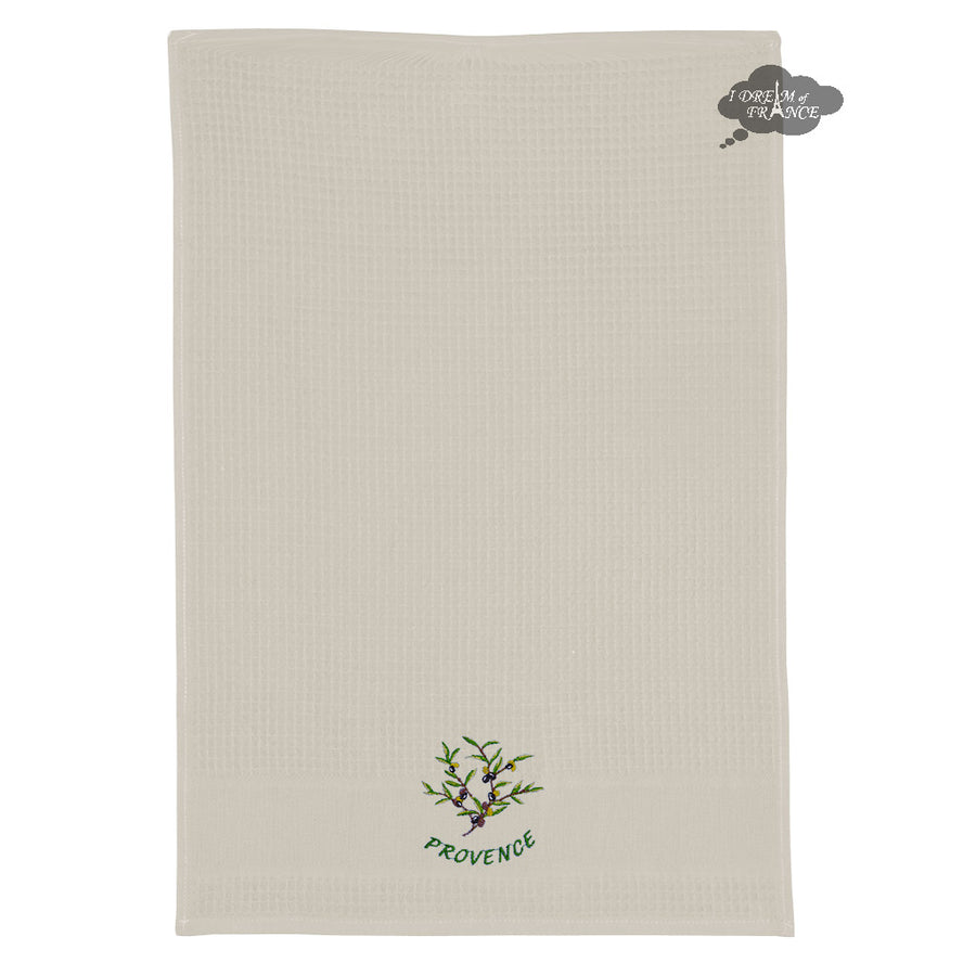 Olives Cream Waffle Weave Kitchen Towel by Tissus Toselli
