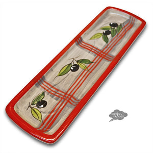 Ceramic Spoon Rest - Red Green Gray Olives