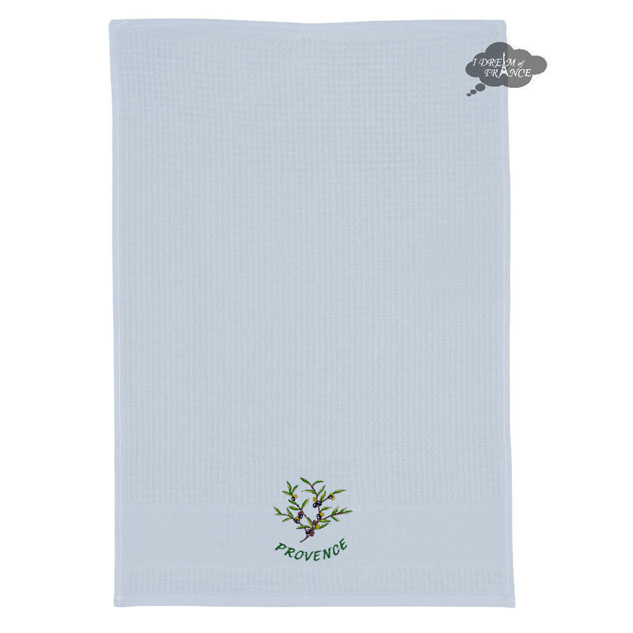 Olives White Waffle Weave Kitchen Towel by Tissus Toselli