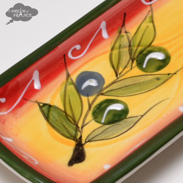 Ceramic Spoon Rest - Yellow Red Green Olives