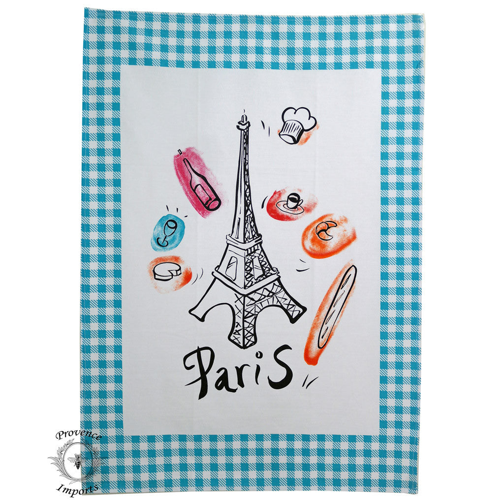 Paris Bistro Cotton Tea Towel - Blue