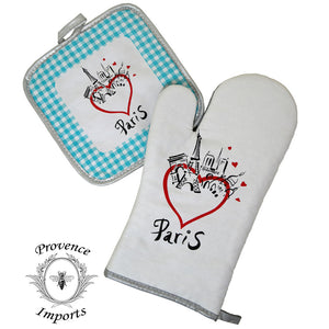 Paris Bistro Cotton Oven Mitt and Pot Holder Set - Blue