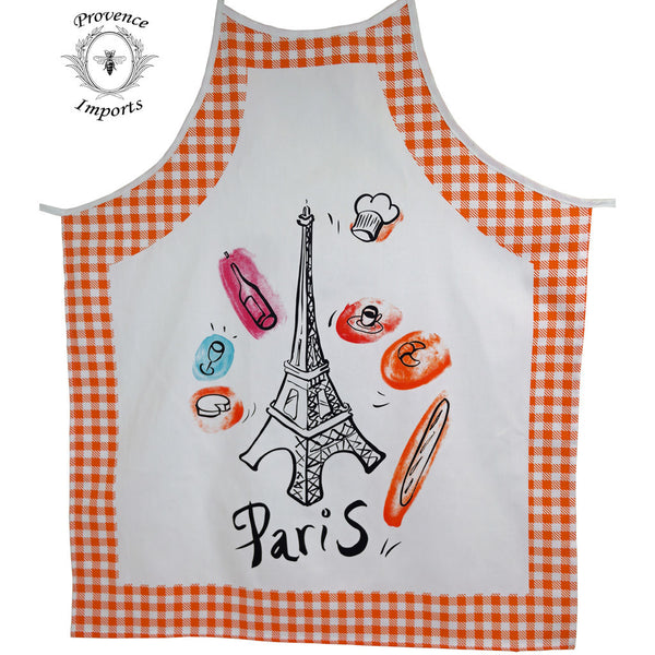 Paris Bistro Cotton Apron - Orange