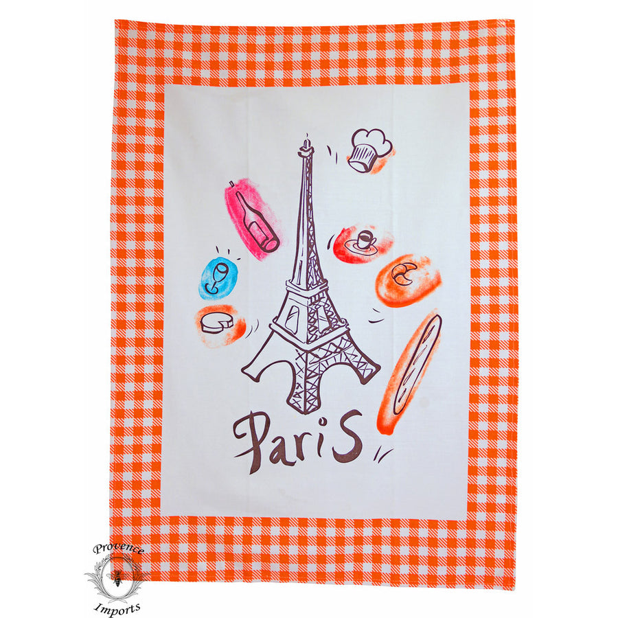 Paris Bistro Cotton Tea Towel - Orange