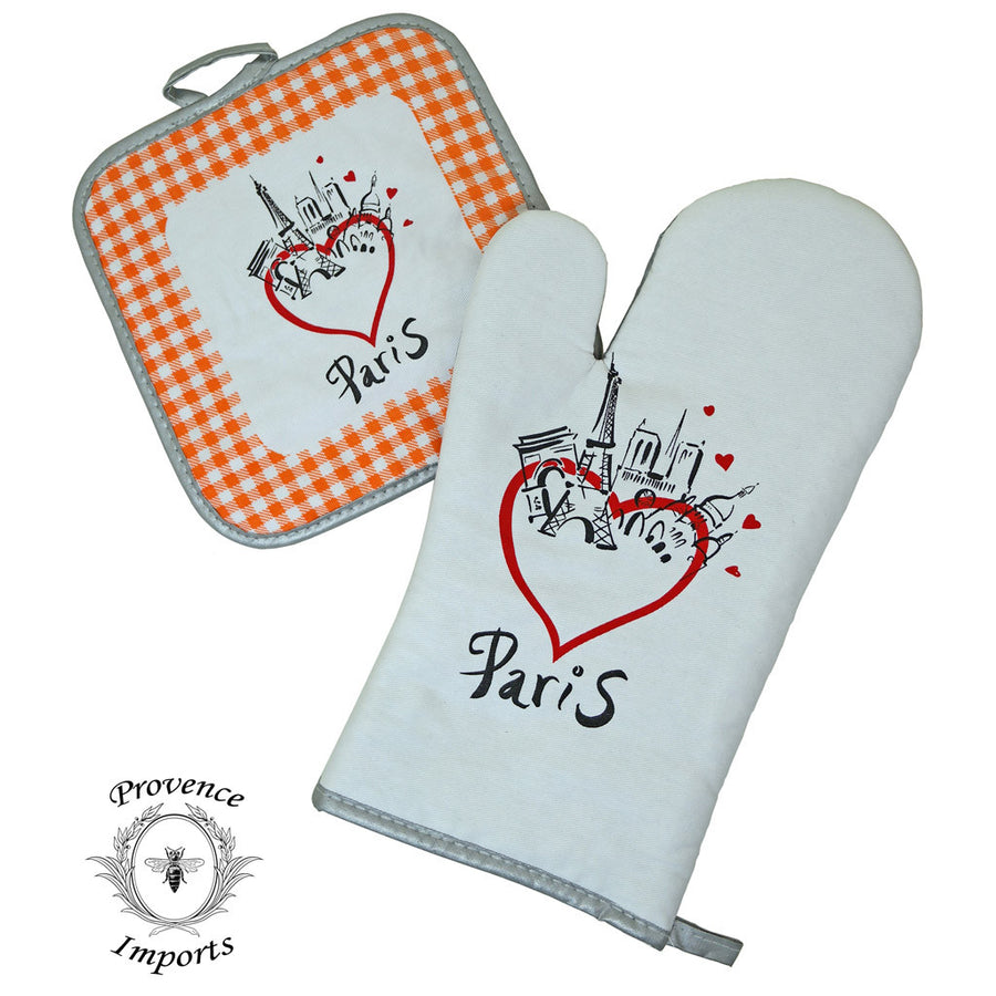 Paris Bistro Cotton Oven Mitt and Pot Holder Set - Orange