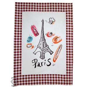 Paris Bistro Cotton Tea Towel - Redwood