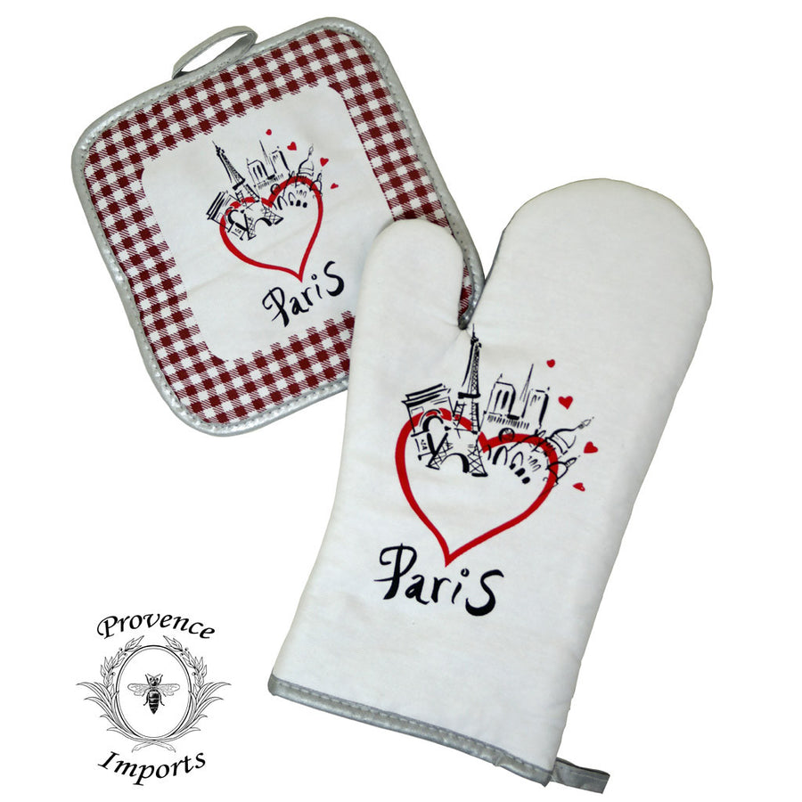Paris Bistro Cotton Oven Mitt and Pot Holder Set - Redwood