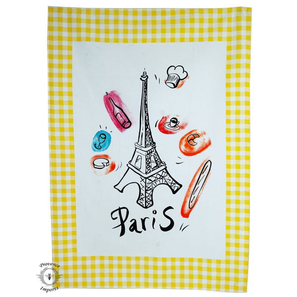 Paris Bistro Cotton Tea Towel - Yellow