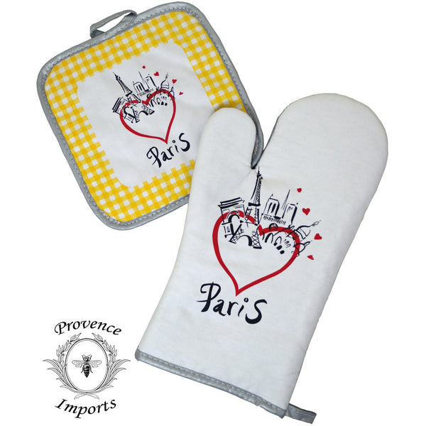 Paris Bistro Cotton Oven Mitt and Pot Holder Set - Yellow
