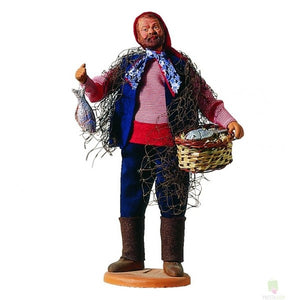 "French Provencal Santon Figure 11"" - Fisherman with Net"
