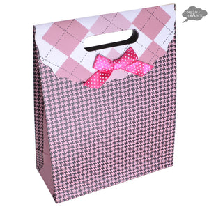 Pink Houndstooth Reclosable Gift Bag with Velcro Flap