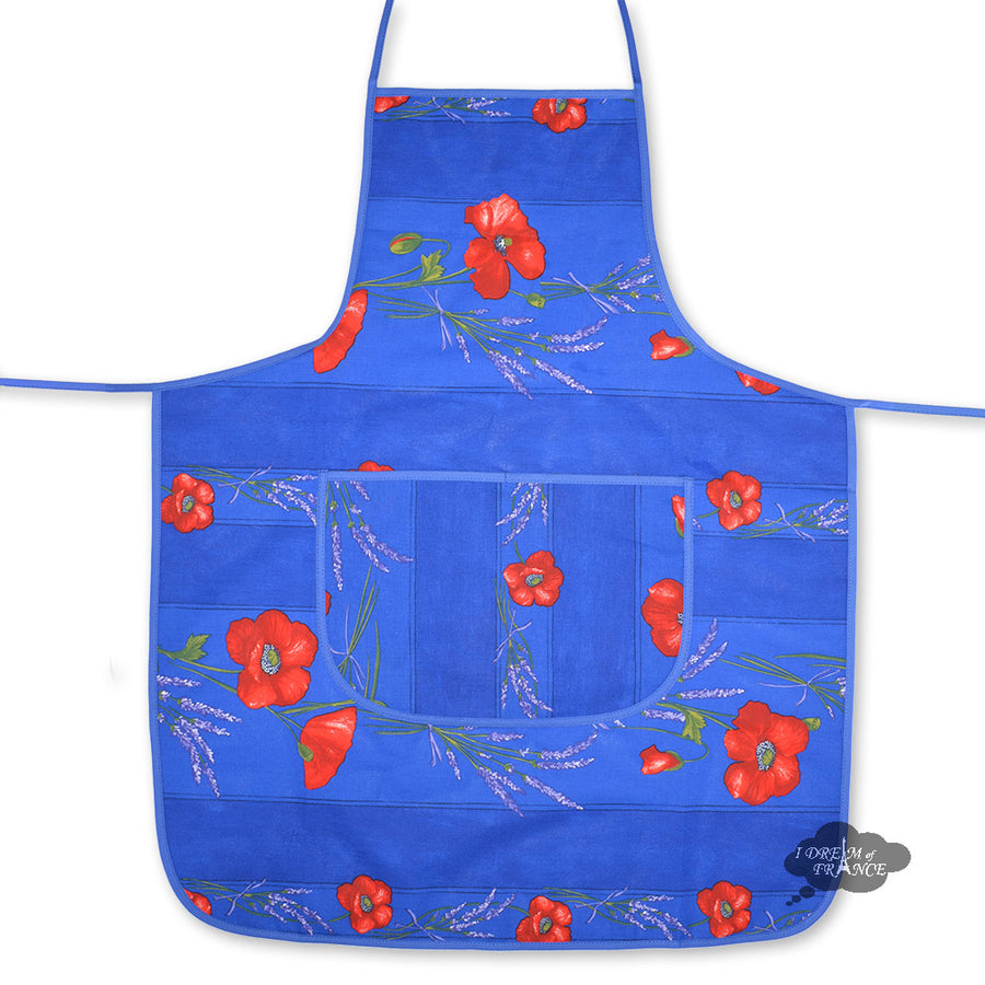 Poppies Blue Cotton Kitchen Apron by Tissus Toselli