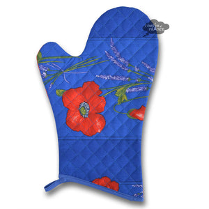 Poppies Blue Cotton Oven Mitt by Tissus Toselli