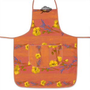 Poppies Coral Cotton Kitchen Apron by Tissus Toselli