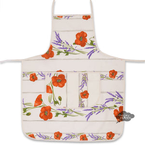 Poppies Cream Cotton Kitchen Apron by Tissus Toselli