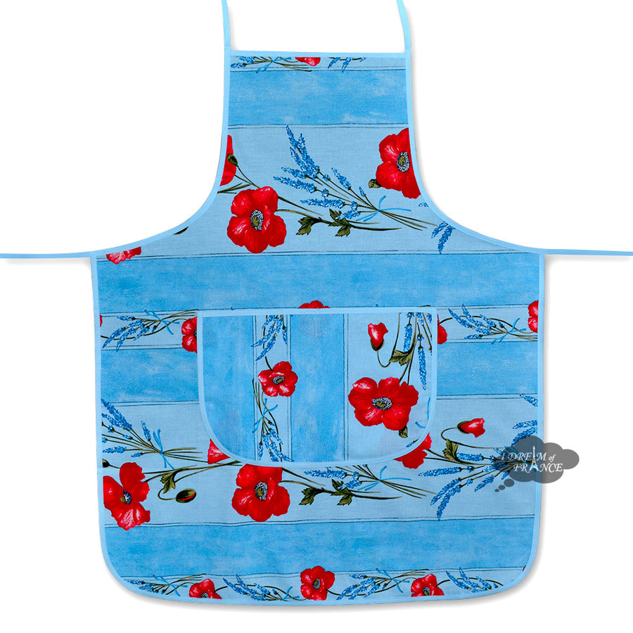 Poppies Sky Blue Cotton Kitchen Apron by Tissus Toselli