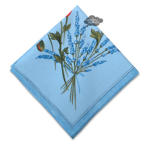 Poppies Sky Blue Provence Cotton Napkin by Tissus Toselli